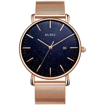 BUREI Men's Fashion Minimalist Wrist Watch Analog Date with Stainless Steel Mesh Band rose gold-blue