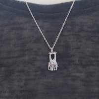 Silver Giraffe Necklace, Sterling Silver Giraffe Necklace, Giraffe necklace, Twin Giraffe Necklace, Giraffe Jewelry , Animal Jewelry