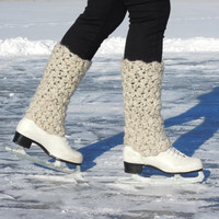 Ice skates leg warmers, boot toppers, boot cuffs -  long thick textured crochet, women, MADE TO ORDER