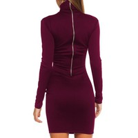 Women Clothes Autumn Long Sleeve Bodycon Casual Dress Fall Winter Slimming Solid Color Elegant Temperament Quality Dresses