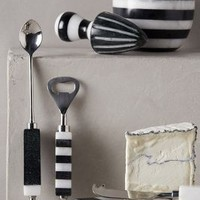 Striped Marble Serveware by Anthropologie in Black Size: