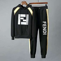 FENDI 2018 winter new casual wear men's sportswear two-piece Black