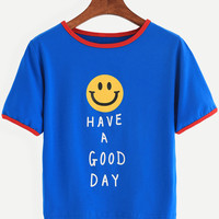 Dark Blue Smiley Face Print Contrast Trim T-shirt
