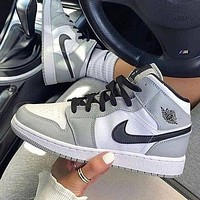 NIKE Air Jordan 1 high-top patent leather distressed basketball shoes-1