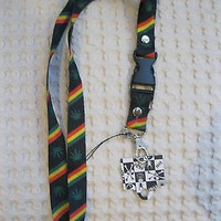 "Black w/ Rasta Stripes Marijuana MJ Weed Leaves 15"" Lanyard ID Holder Keychain"