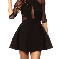Sexy Womens Black Mesh Inset Bodycon Evening Cocktail Party Mini Skater Dress (Black)