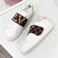 Louis Vuitton LV New Fashion Letter Plaid Print High Quality Sports Leisure Shoes Women White