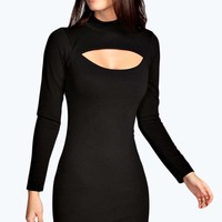 Melissa Crepe High Neck Bodycon Dress