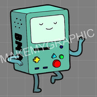 """Adventure Time 5"""" Dancing BEEMO BMO System Decal for Cars or Laptops"""