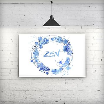 Abstract Watercolor Blue Feather Circle - Fine-Art Wall Canvas Prints