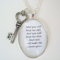 Les Miserables quote pendant, quote jewelry, le mis, and you will keep me safe, Eponine song