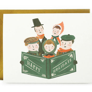 holiday carolers card