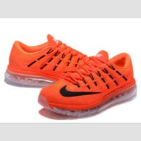 """""""NIKE"""" Trending AirMax Toe Cap hook section knited Fashion Casual Sports Shoes Orange transparent soles(black hook)"""