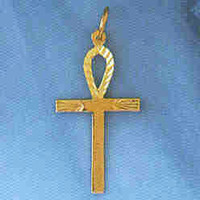 14K GOLD RELIGIOUS CHARM - SMALL EGYPTIAN CROSS #8894