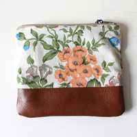 Peach, Cream, Green and Blue Floral Cotton Clutch with Brown Leather