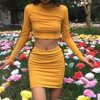 Slim Sexy Fashion Women'S Round Neck Long-Sleeved Two-Piece Dress