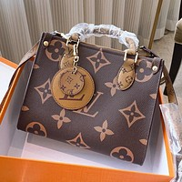 Louis Vuitton LV New Hot Sale Printed Letter Splicing Color Pendant Women Shopping Tote Shoulder Bag