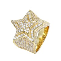 Sterling Silver Bling Double Star 3D Men's Ring