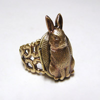 Steampunk RABBIT Locket Ring, cute and adorable