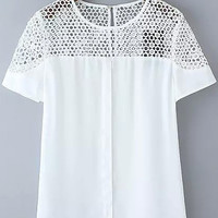 White Short Sleeve Floral Crochet Blouse