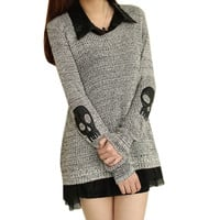 Women Sweater Fashion Casual Skull Print Work Office Pullover Loose Knitted Sweaters TIML66