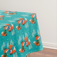 Holiday, Red Foxes, Merry Christmas, Custom Tablecloth