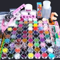 Pro Acrylic Powder Nail Art Brush Glitter Powder Buffer Cutter Tool Set Kit Tips