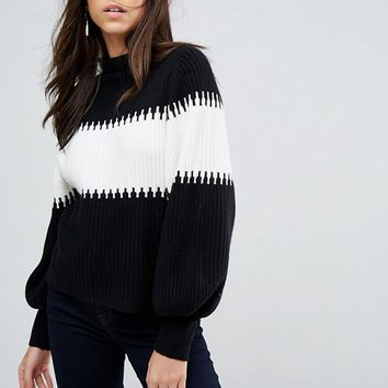 French Connection High Neck Bell Sleeve Jumper at asos.com