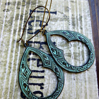 Green patina, Celtic Earrings, Verdigris Patina jewelry.