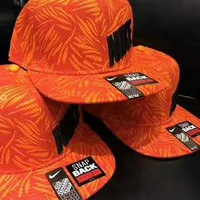 """Nike""Fashion Print Cap Adjustable Golf Snapback Baseball Hat Cap Orange G-A-GHSY-1"