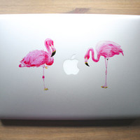 Pink Flamingo design clear vinyl decal for laptops