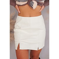 Side To Side Faux Leather Mini Skirt (White)