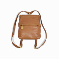 Vintage 90s Leather Backpack Purse / 1990s Mini Backpack / Saddle Brown Leather Backpack