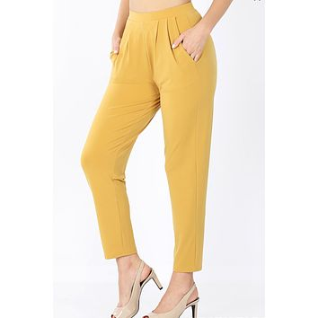 High Waisted Slim Straight Leg Pleated Waist Pants