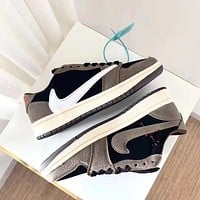 Inseva Air Jordan 1 x Travis Scott AJ1 Barb Men's and Women's Low-Top Sneakers Shoes