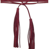 Suede Tassel Double Wrap Choker Necklace - Burgundy