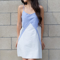 Blue and White Stripes Woven Dress