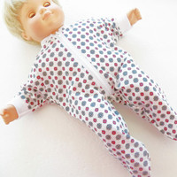 Bitty Baby Clothes, fits 15 inch girl doll, Handmade, Red Grey White Pajamas Pjs