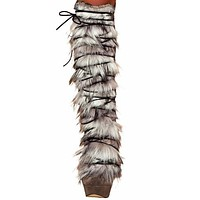Sexy Faux Fur Front Indian Girl Legwarmers Halloween Accessory