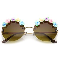 Women's Round Novelty Festival Floral Sunglasses A882