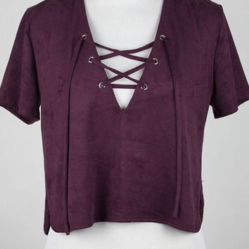 Linda Laced up Suede Blouse