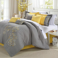 King Size 8 Piece Comforter Set Floral Tree of Life Modern Gray Yellow