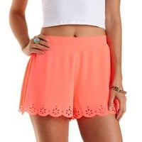 Neon Laser-Cut Scalloped Shorts by Charlotte Russe