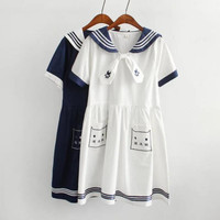 2016 Spring Girl Navy Style Dress Vestido Sailor Collar Cat Embroidery Plus Size Vestidos Mori Girl Lovely Clothing