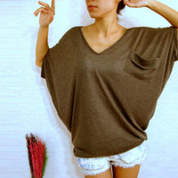 Chocolate Dark Brown Women Blouse - Oversized Tee / Cozy Comfy Tee / Ladies Ponco T shirt - V neck blouse / Casual Wide Sleeve Women's Top