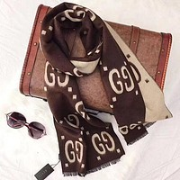 GUCCI New fashion more letter print scarf Coffee