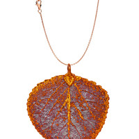 Real Leaf Pendant with Chain ASPEN Dipped in Copper Genuine Leaf Necklace