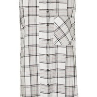 Sleeveless Checked Shirt - Grey