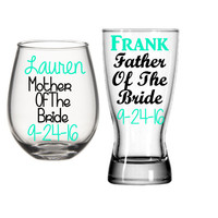 Mother Of The Bride Wine Glass, Father Of The Bride Glass, Parents Of The Bride Gifts, Mother Of The Bride, Father Of The Bride