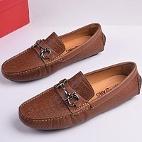 Ferragamo  Men Fashion Casual Leather Loafers Shoes